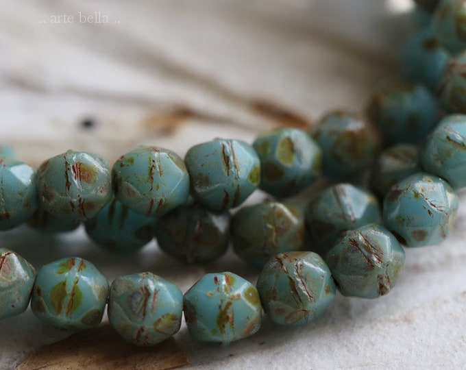 SKY NUGGETS 4mm .. 50 Premium Picasso Czech Glass English Cut Beads (6550-st)