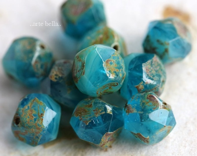 BEACHY NUGGETS .. NEW 10 Premium Picasso Czech Glass Central Cut Beads 9mm (7236-10)