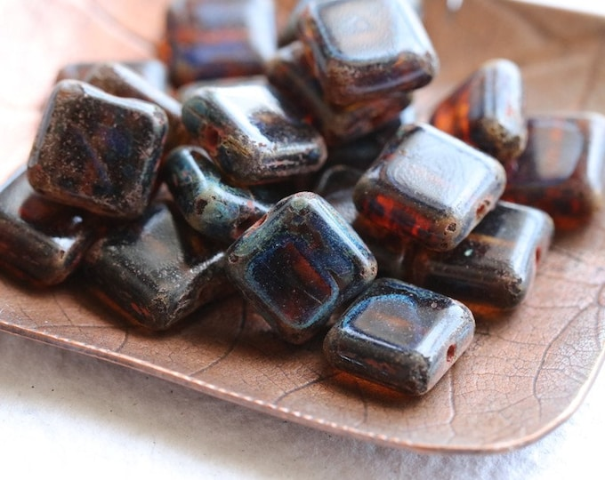 COGNAC TOFFEE SQUARES .. 20 Premium Picasso Czech Glass Square Beads 8mm (8244-20)