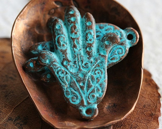 COPPER PATINA HANDS .. New 2 Mykonos Greek Lacey Hand Charm Pendant 15x20mm (M254-2)