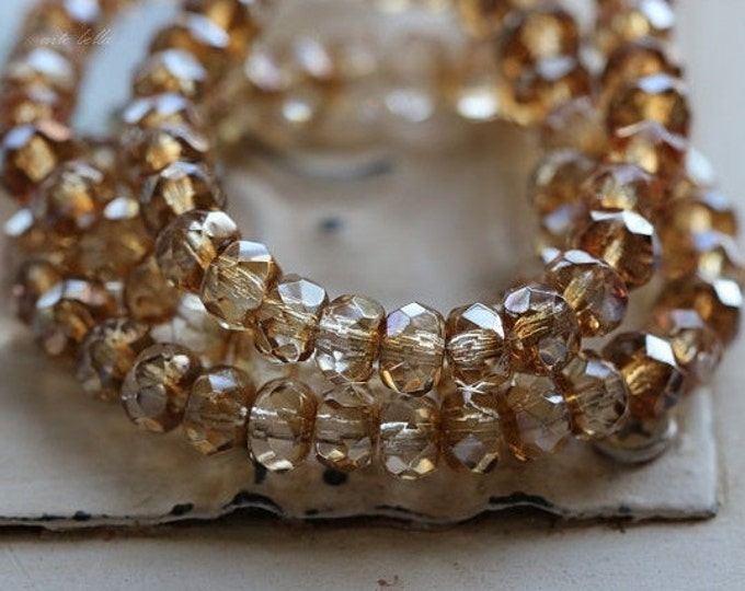 CHAMPAGNE GLITZ .. 30 Premium Luster Picasso Czech Rondelle Glass Beads 3x5mm (4826-st)