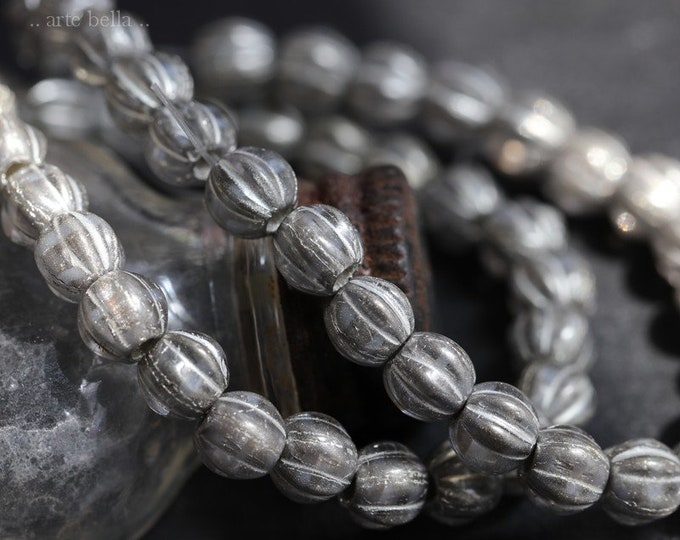 SILVERED MERCURY MELONS .. 25 Premium Picasso Large Hole Czech Glass Melon Beads 6mm (7093-st)