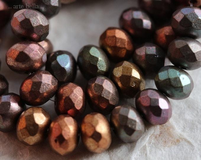 METALLIC MIX PEBBLES .. 25 Premium Picasso Mix Czech Glass Rondelle Beads 5x7mm (6895-st)