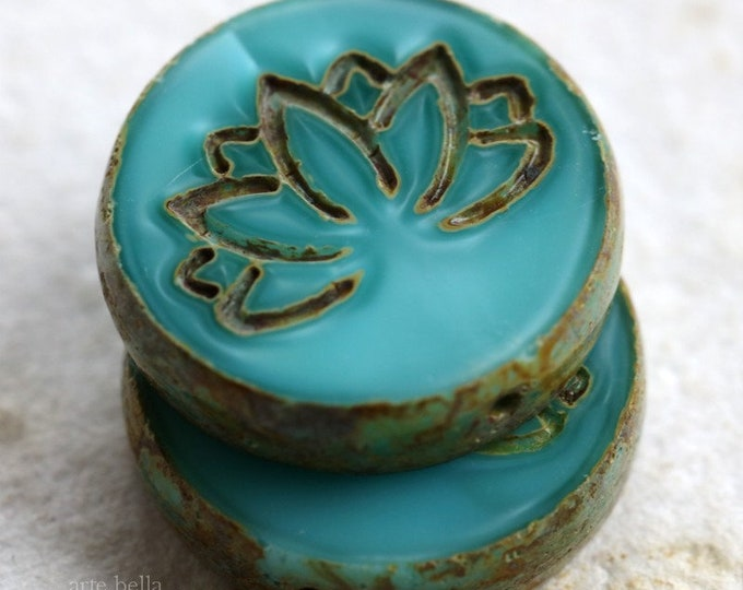 TURQUOISE SILK LOTUS .. 2 Premium Picasso Czech Glass Lotus Coin Beads 18mm (6336-2)