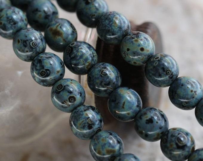 BLUE DENIM MARBLES .. 25 Premium Picasso Czech Glass Druk Beads 6mm (7084-st)