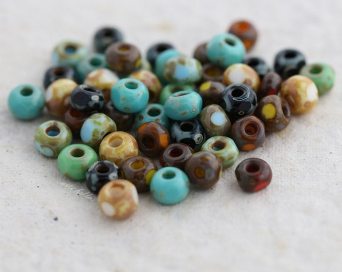 sale .. SEED BEAD MIX No. 5376 .. 50 Picasso Czech Glass Tri-Cut Seed Bead Mix Size 6/0 (5376-50)