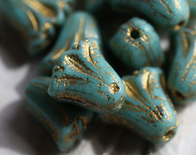 GOLDEN TURQUOISE TULIPS .. New 10 Premium Picasso Czech Glass Flower Beads 9x10mm (7049-10)