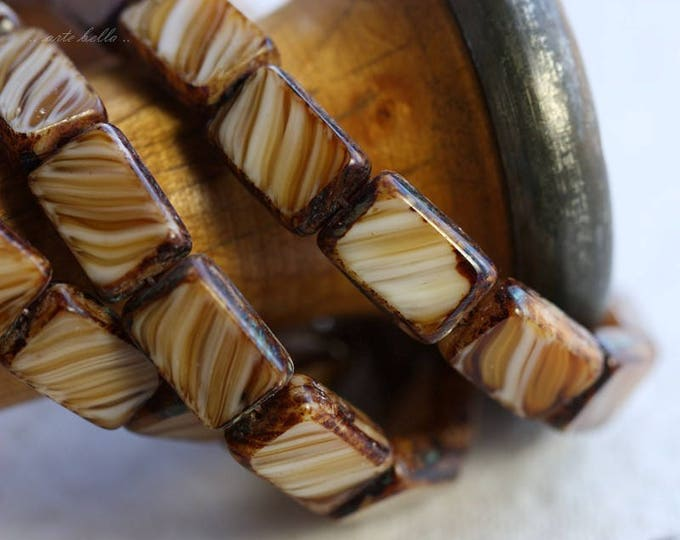 sale .. BUTTERSCOTCH CREAMS .. 15 Picasso Czech Glass Rectangle Beads 12x8.5mm (B1042-st)