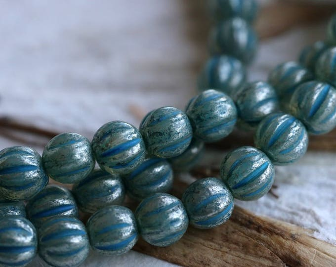 BLUE MERCURY MELONS No. 2 .. 50 Premium Picasso Czech Glass Melon Beads 4mm (5996-st)