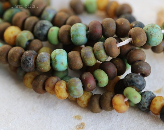 "RUSTIC AGED SEEDS No. 7646 .. 20"" Premium Picasso Czech Glass Matte Aged Seed Bead Mix Size 6/0 (7646-st)"