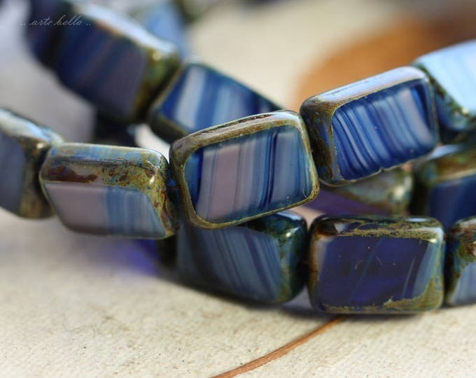 last ones .. LAVENDER INK RECTANGLES .. 15 Picasso Czech Glass Rectangle Beads 12x8.5mm (B1034-st)