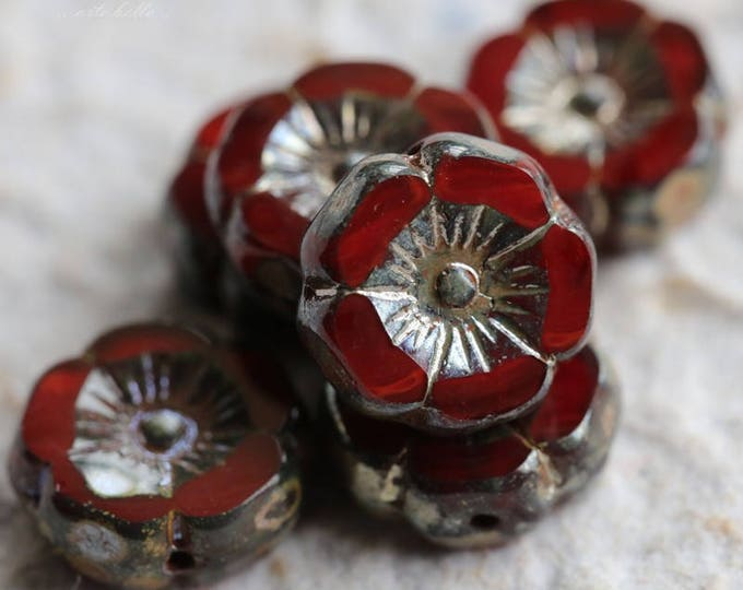 GARNET PANSY .. 6 Picasso Czech Glass Flower Beads 12mm (5762-6)