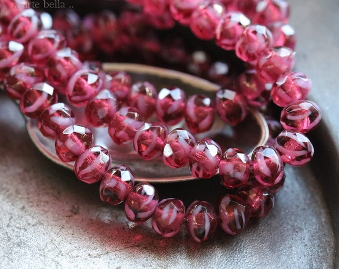 RASPBERRY SWIRL BABIES .. 30 Premium Czech Glass Rondelle Beads 3x5mm (7660-st)