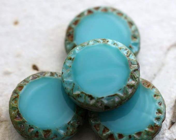 TURQUOISE SUN No. 2 .. 4 Premium Picasso Czech Chunky Coin Beads 16mm (6131-4)