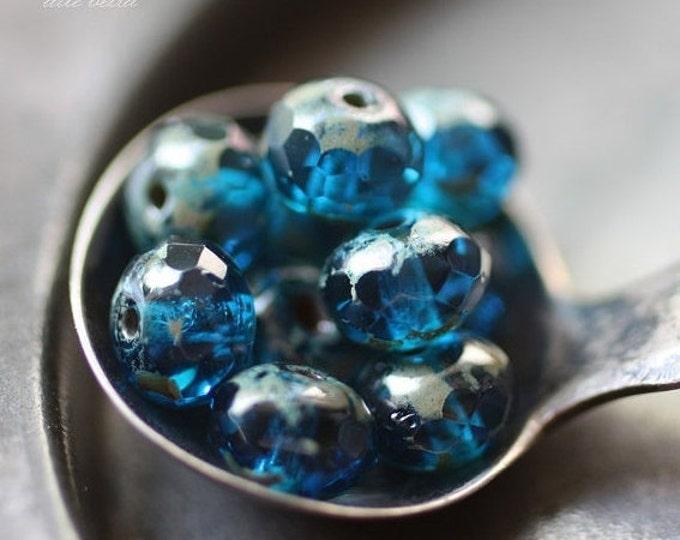 CAPRI ISLAND .. 10 Premium Picasso Czech Glass Faceted Rondelle Beads 7x5mm (2413-10)