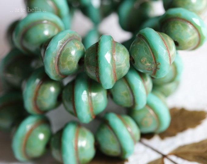 MOSSY TURQUOISE BLISS .. 10 Premium Picasso Czech Glass Saturn Beads 10x12mm (7907-10)
