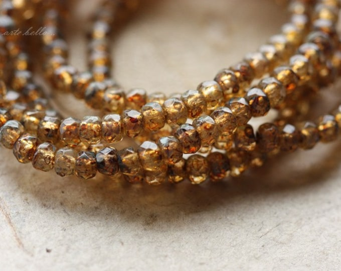 AMBER PICASSO BITS .. 50 Picasso Czech Glass Rondelle Beads 2x3mm (4278-st)
