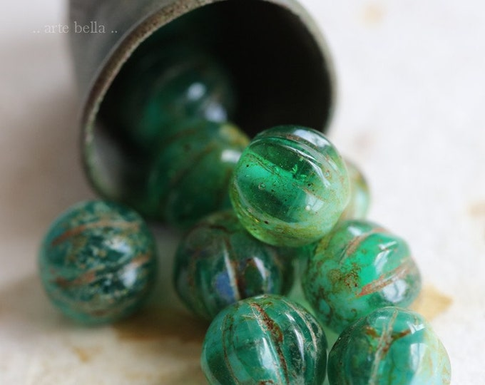 SEASHORE MELONS 8mm .. 10 Premium Picasso Czech Melon Beads (6461-10)