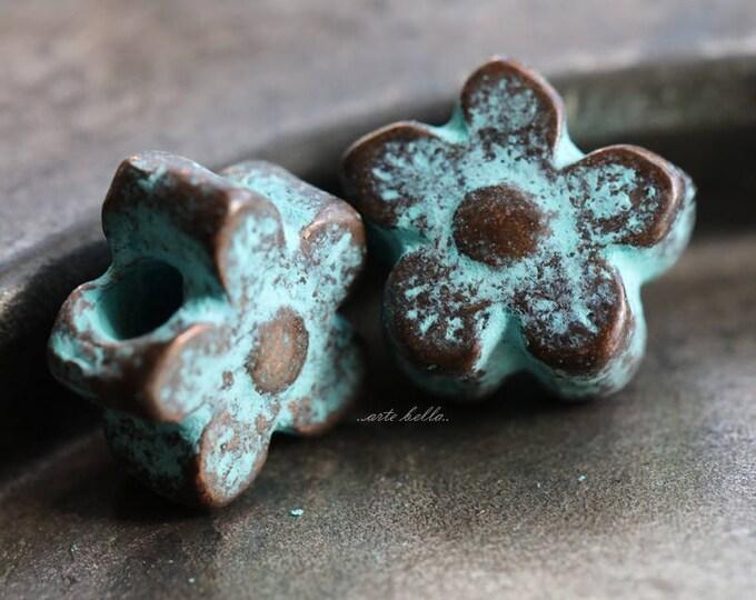 POSIES No. 77 .. 2 Mykonos Greek Flower Charm Beads 12mm (M77-2)