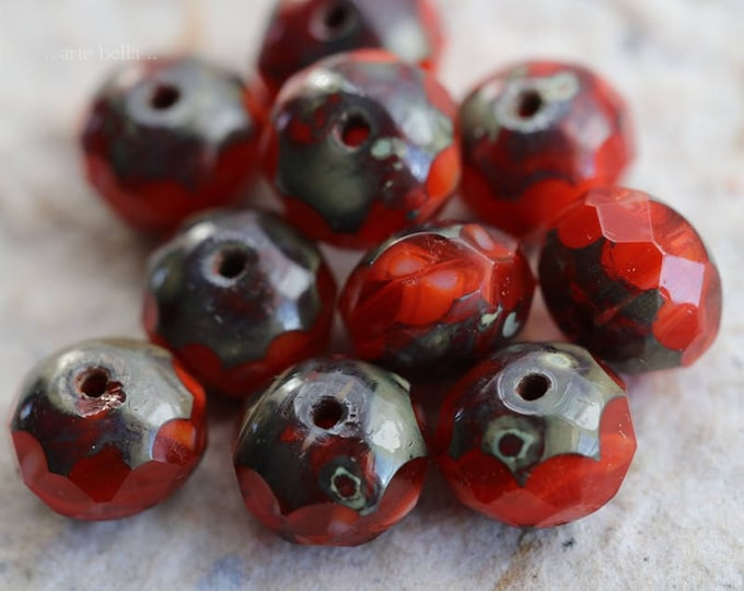 KOI .. 10 Picasso Czech Rondelle Glass Beads 6x8mm (6091-10)