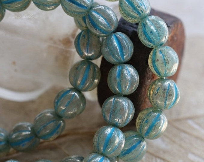 BLUE MERCURY MELONS .. 25 Premium Picasso Czech Melon Beads 6mm (5327-st)