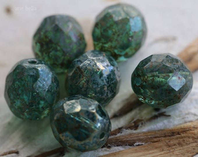 SILVERED AQUA POPS .. 6 Picasso Czech Glass Faceted Round Beads 10mm (6129-6)