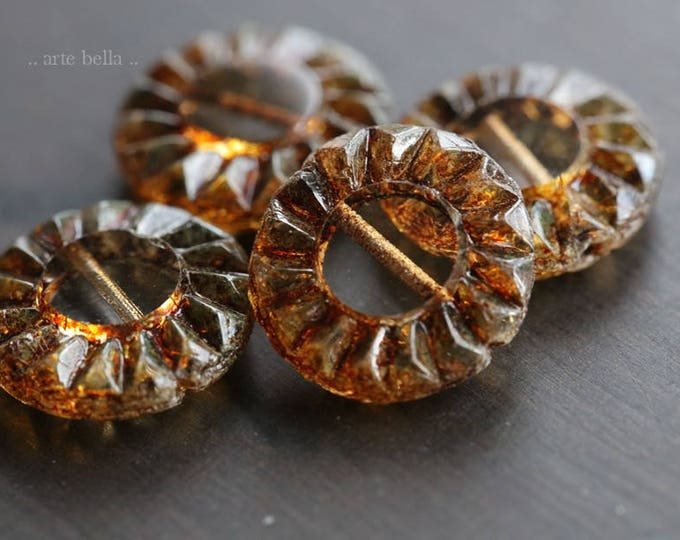 sale .. EARTHY SUNFLOWERS .. 4 Premium Picasso Czech Glass Coin Beads 14mm (6044-4)