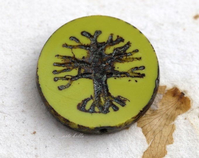 TREE OF LIFE No. 5688 .. 1 Premium Picasso Czech Glass Bead 22mm (5688-1)