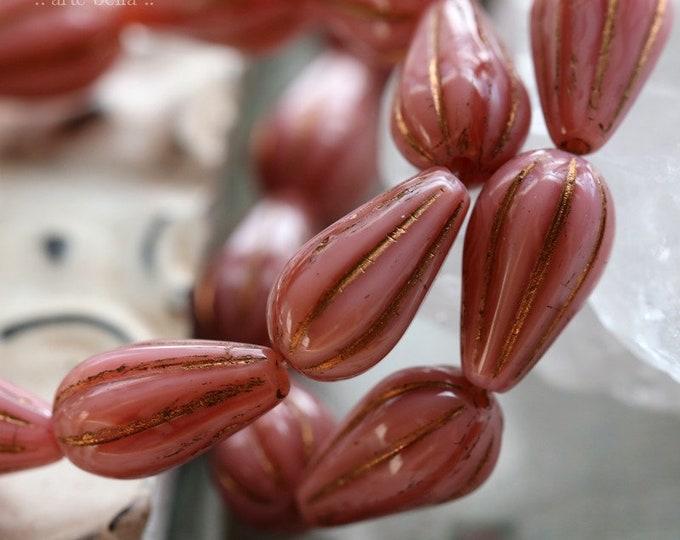 BRONZED PINK SILK Melon Drops .. 10 Premium Picasso Czech Glass Melon Drop Beads 13x8mm (8000-st)