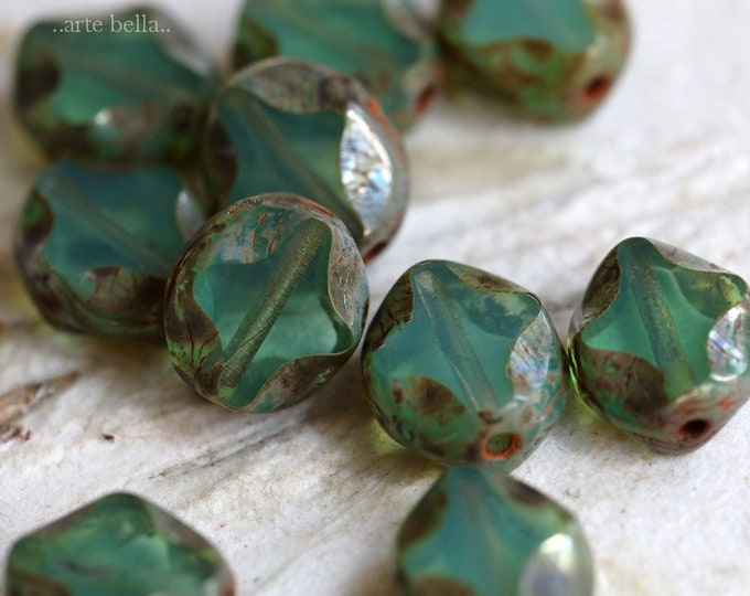 LAGOON DIAMOND WINDOWS No. 2 .. New 10 Premium Picasso Czech Glass Beads 9x8mm (7286-10)