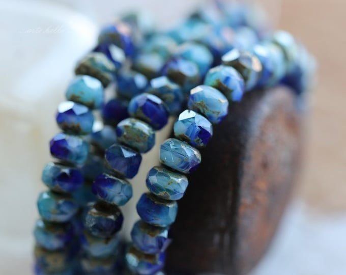 SUMMER SKIES .. 30 Premium Picasso Czech Rondelle Glass Beads 3x5mm (4182-st)