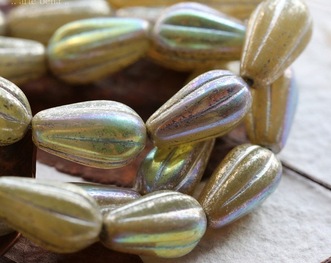 MYSTIC OPAL MELON Drops .. 10 Premium Czech Glass Melon Drop Beads 15x8mm (8447-st)