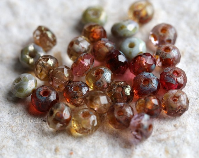 ROSE WATER BABIES .. 30 Premium Picasso Czech Glass Rondelle Mix Beads 3x5mm (6808-30)