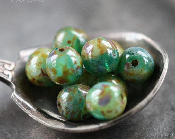 SEASHORE No. 1 .. 10 Picasso Czech Druk Glass Beads 6mm (2713-10)