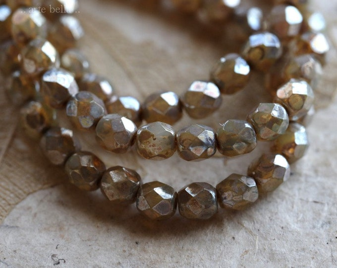 sale .. CASHMERE TOTS .. 50 Premium Picasso Faceted Czech Glass Beads 4mm (5105-st)