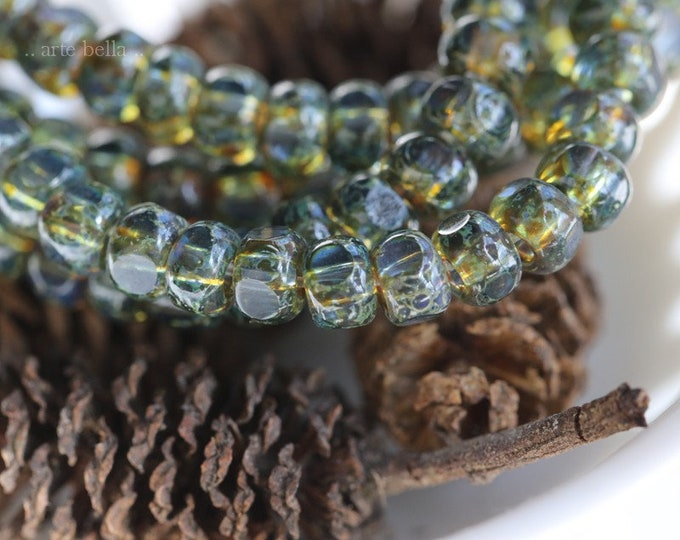 SAPPHIRE MOSS SEEDS .. 50 Premium Picasso Czech Glass Faceted Seed Bead Size 6/0 (7779-st)
