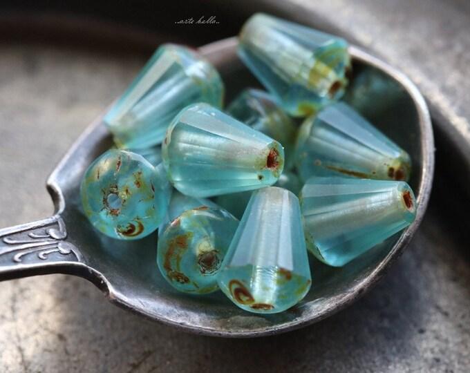 MATTE AQUA DROPETTES .. 10 Picasso Czech Glass Drop Beads 8x6mm (5531-10)