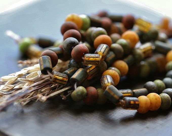 """BOHEMIAN SEED MIX No. 8920 .. New 20"""" Premium Matte Picasso Czech Glass Aged Striped Seed Bead Mix Size 4/0 (8920-st)"""
