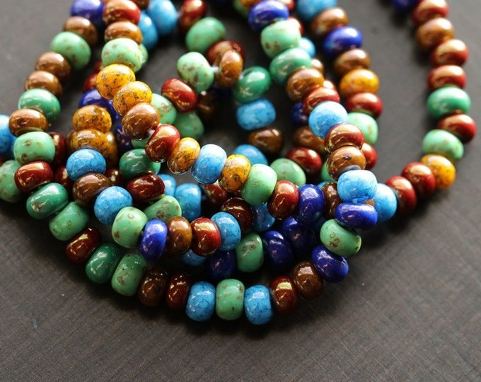 "LUSTER FOREST SEEDS No. 8715 .. New 20"" Premium Picasso Czech Luster Glass Seed Bead Mix Size 5 (8715-st)"