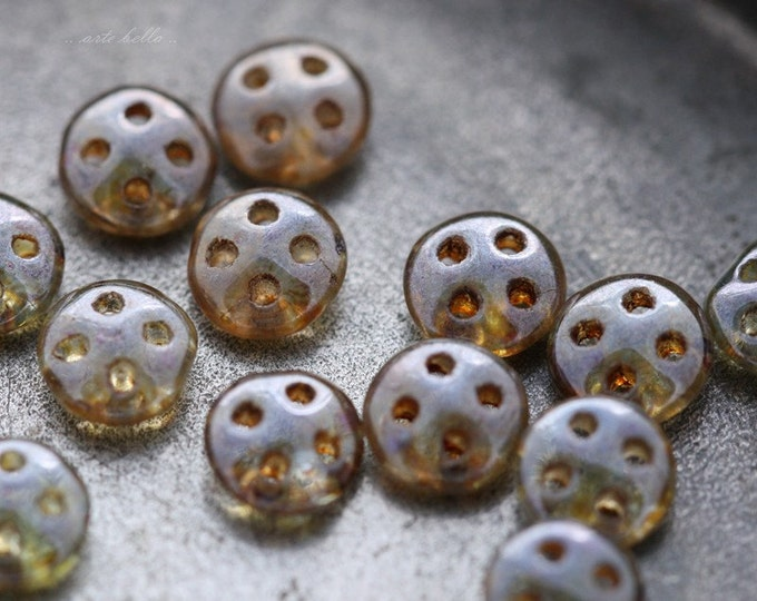 clearance .. LENTIL No. 4443 .. 20 Picasso Glass CzechMate QuadraLentil Beads 6mm (4443-20)