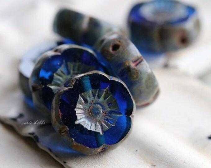 COBALT PANSY No. 2 .. 6 Picasso Czech Glass Flower Beads 12mm (4924-6)