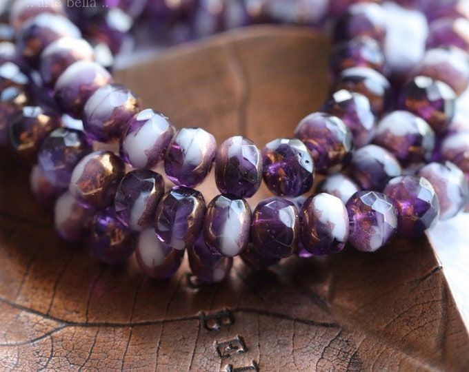 BRONZED GRAPE BABIES .. 30 Premium Czech Glass Rondelle Beads 3x5mm (8069-st)