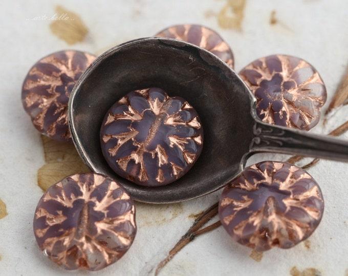 LILAC DAHLIAS .. 6 Czech Glass Dahlia Flower Beads 14mm (5420-6)