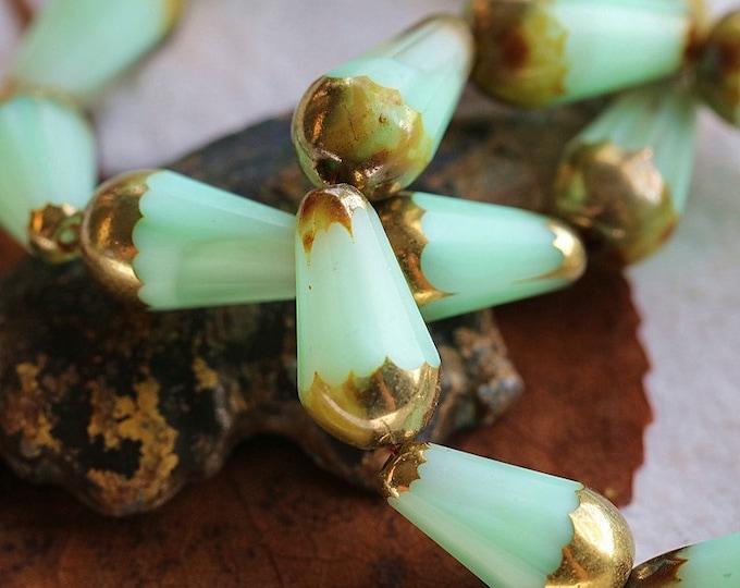 GOLDEN MINT FACETED Chubettes .. New 8 Premium Picasso Czech Matte Glass Faceted Drop Beads 15x8mm (8608-8)