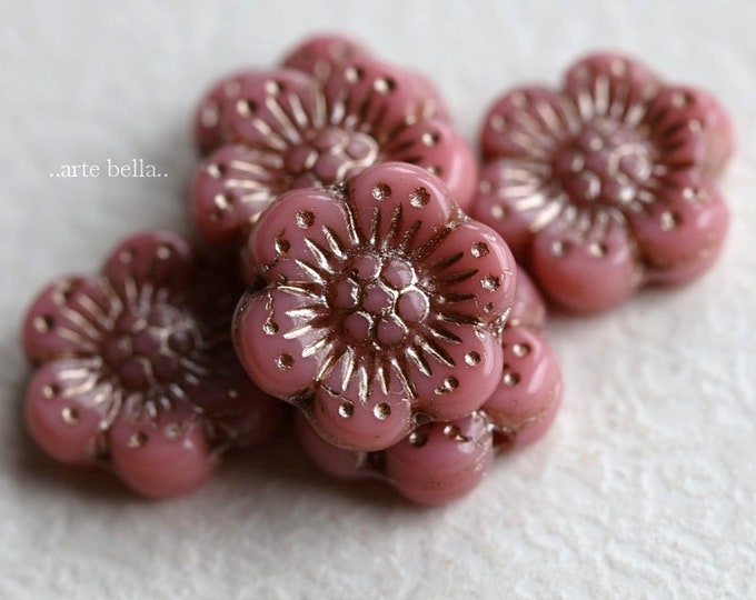 PLATINUM PINK ROSES .. New 6 Premium Platinum Czech Glass Wild Rose Beads 14mm (7226-6)