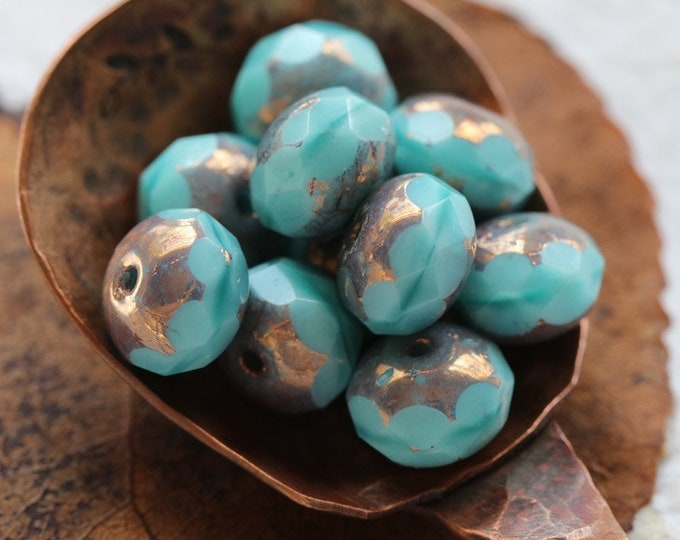 BRONZE TURQUOISE SILK .. 10 Premium Picasso Czech Faceted Glass Rondelle Beads 6x9mm (8201-10)