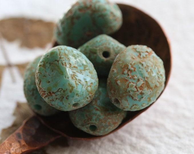 TUMBLED TURQUOISE STONES .. 6 Premium Stone Picasso Czech Glass Beads 15x12mm (8080-st)