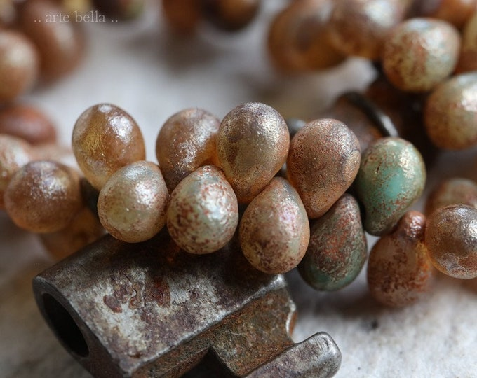 CASHMERE TORTOISE MIX No. 2 .. New 50 Premium Picasso Czech Etched Glass Drop Beads 5x7mm (6825-st)