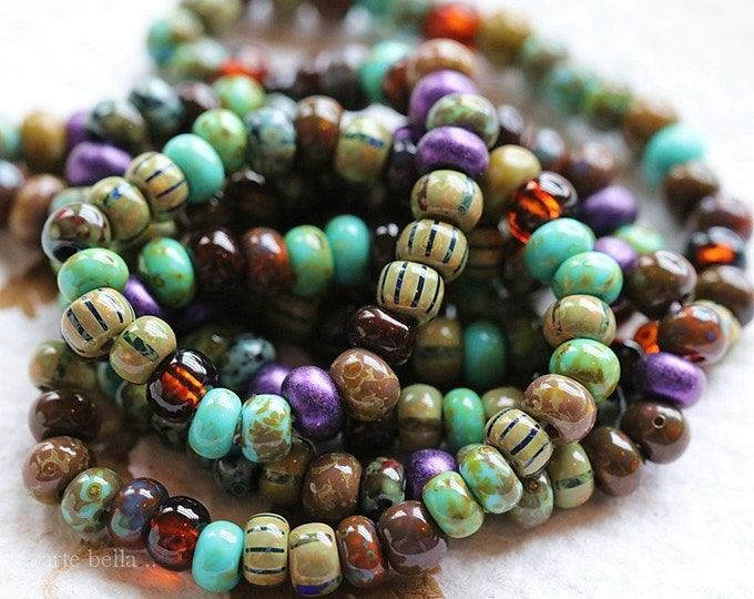 ROYALTY SEEDS .. New 1 Strand Premium Picasso Czech Glass Aged Striped Seed Bead Mix Size 5/0 (8417-st)