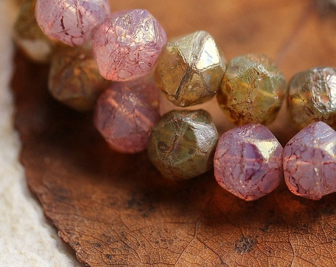 CASHMERE PINK NUGGET Mix .. New 20 Premium Picasso Czech Glass English Cut Beads 8mm (8845-st)